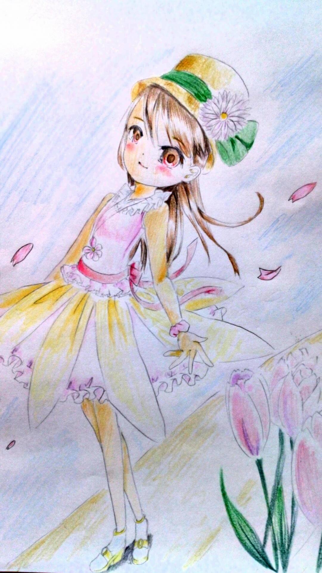 花の季節です イラストコンテスト かわいい女の子のイラストを描い
