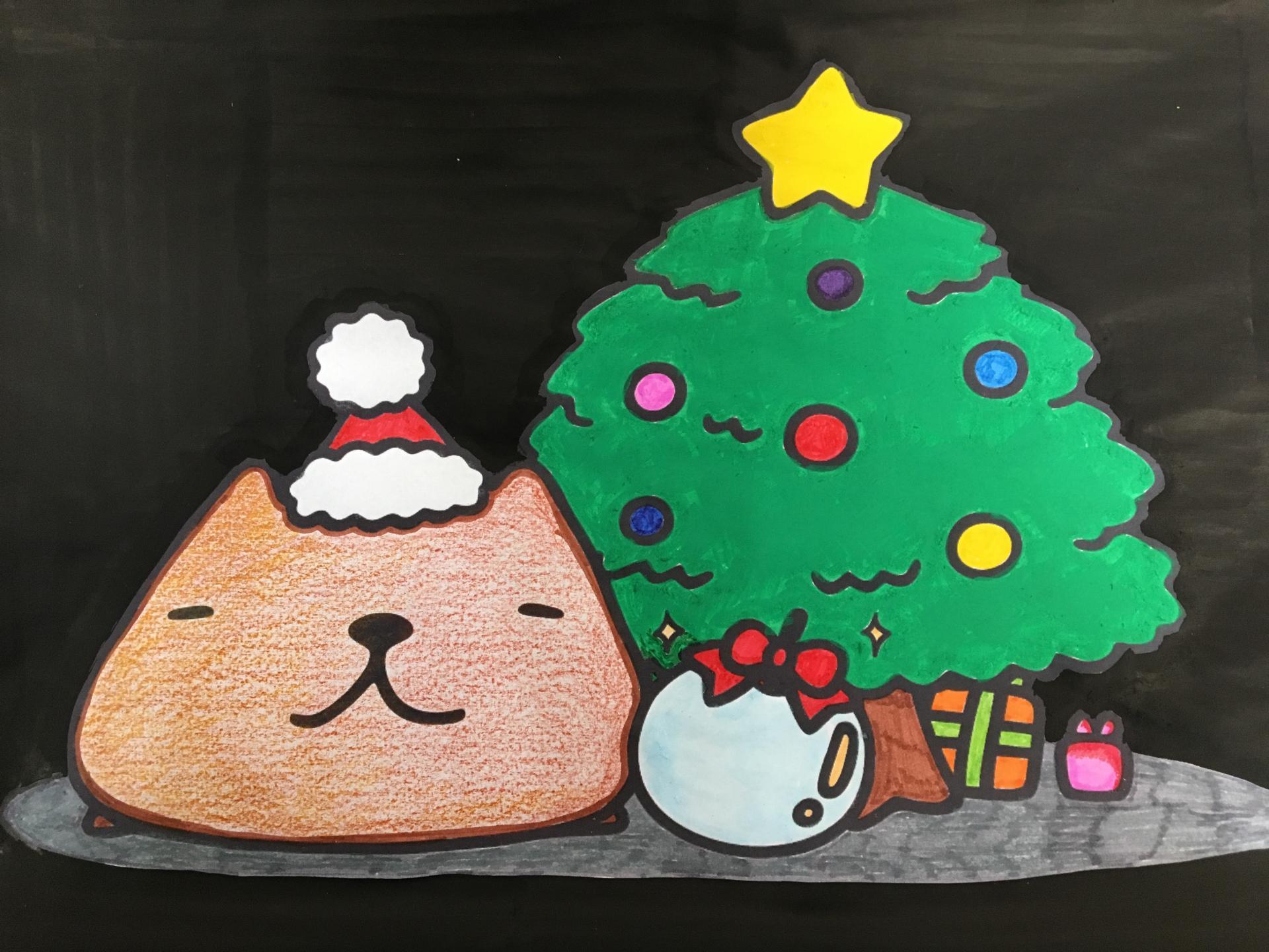 まっくろクリスマス 親子で挑戦 カピバラさんを可愛くカラーリング