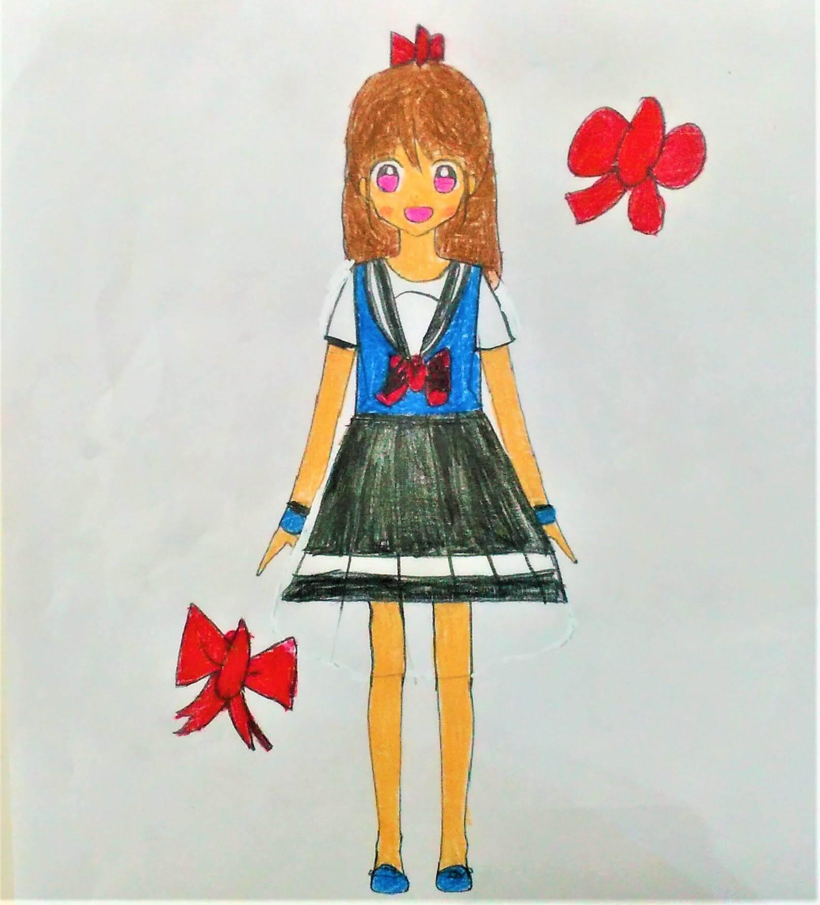 可愛いセーラ服 ちゃおイラストレッスン2⑥セーラー服を描い